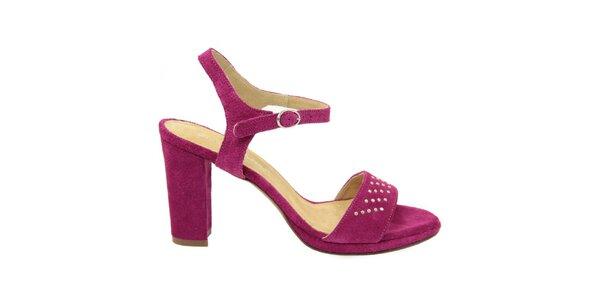 Dámske purpurové semišové sandále s ozdobnými cvokmi Giorgio Picino