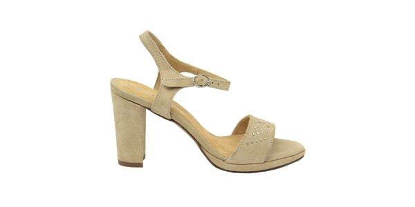Dámske prírodné semišové sandále s ozdobnými cvokmi Giorgio Picino