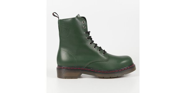 Dámske fľaškovo zelené kožené punkové topánky Diesel 2613787bb67