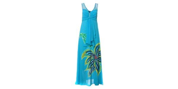 Dámske nebesky modré dlhé šaty s výraznou kvetinou Via Belucci