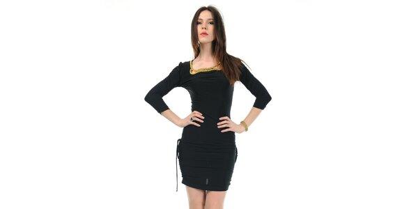 Dámske čierne šaty Via Bellucci so zlatými korálmi