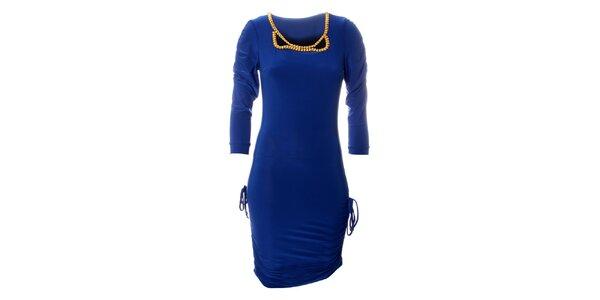 Dámske žiarivo modré šaty Via Bellucci so zlatými korálmi