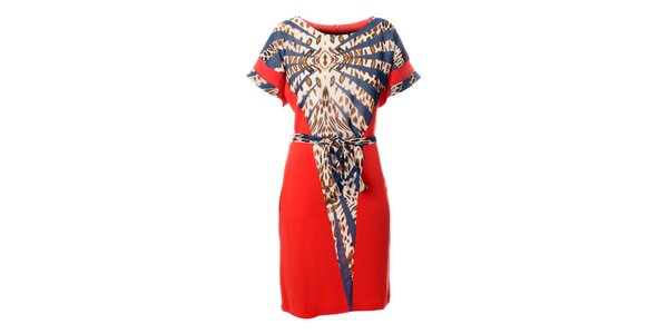Dámske korálovo ružové šaty Via Bellucci s modro-hnedým leopardím vzorom