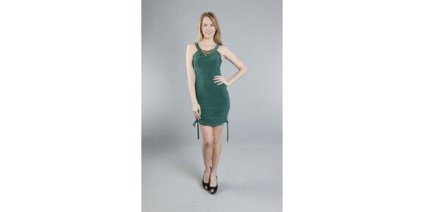 Dámske tmavo zelené šaty Via Bellucci so zipsom