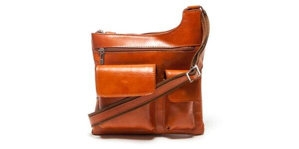 Dámska koňaková kabelka Mangotti s vonkajšími vreckami