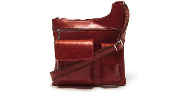 Dámska hnedá kabelka Mangotti s vonkajšími vreckami