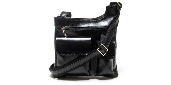 Dámska čierna kabelka Mangotti s vonkajšími vreckami