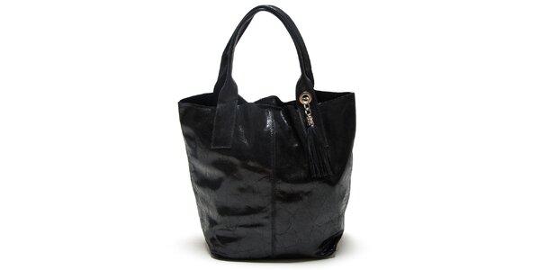 Dámska čierna kabelka s dvomi ušami Mangotti