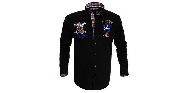 Pánska čierna košeľa s výšivkami Pontto