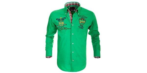 Pánska zelená košeľa s výšivkami Pontto