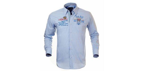 Pánska svetlo modrá košeľa s výšivkami Pontto