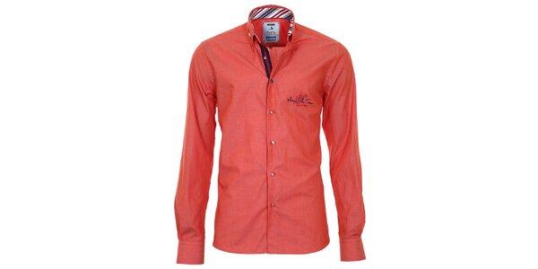 Pánska oranžová košeľa s pruhovanými manžetami Pontto