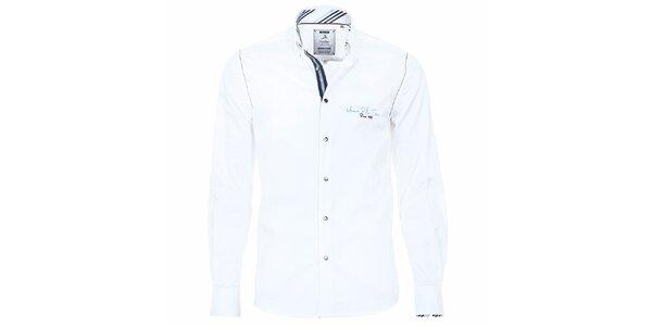 Pánska biela košeľa s pruhovanými manžetami Pontto