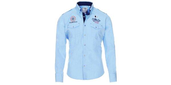 Pánska svetlo modrá košeľa s vreckami Pontto