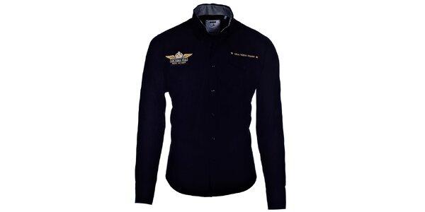 Pánska čierna košeľa Pontto s výšivkou