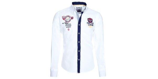 Pánska biela košeľa s kontrastnou légou Pontto