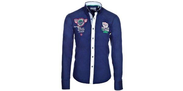 Pánska tmavo modrá košeľa s kontrastnou légou Pontto