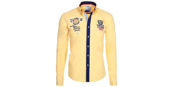 Pánska žltá košeľa s kontrastnou légou Pontto