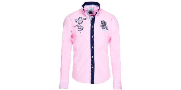 Pánska ružová košeľa s kontrastnou légou Pontto