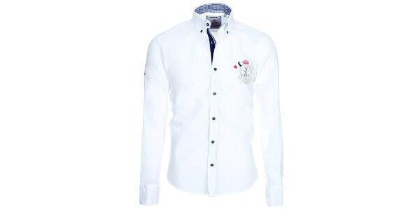 Pánska biela košeľa Pontto s kockovanými detailmi