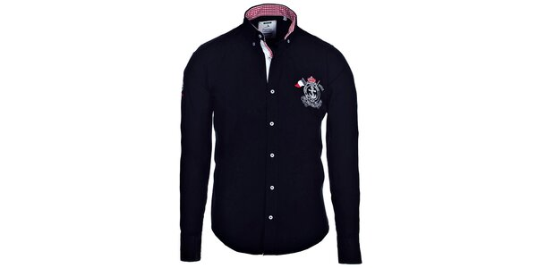 Pánska čierna košeľa Pontto s kockovanými detailmi