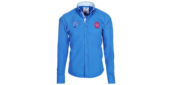 Pánska modrá košeľa s nápismi Pontto