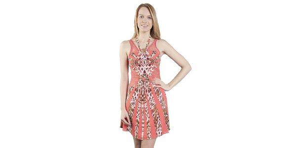 Dámske ružovo-hnedé leopardie šaty Via Bellucci