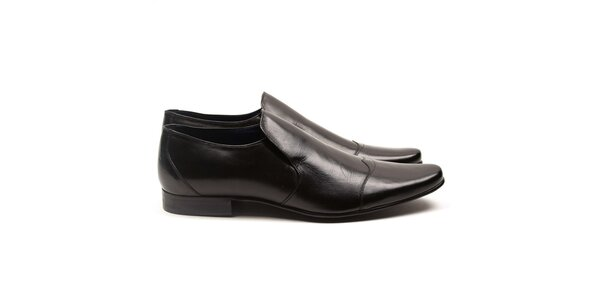 Pánske čierne kožené elegantné topánky Armand Basi