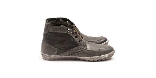 Pánske šedé členkové topánky z kože Armand Basi