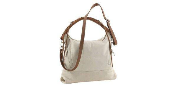 Dámska krémová kožená kabelka Ore 10