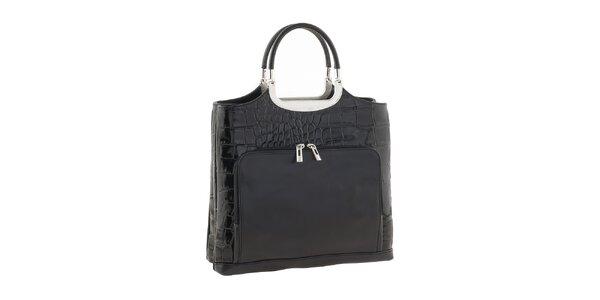 Dámska čierna kožená lesklá kabelka s vreckami Ore 10