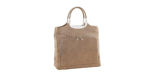 Dámska svetlo hnedá kožená kabelka s vreckami Ore 10