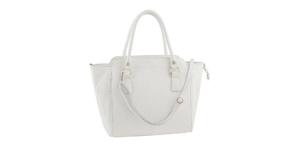 Dámska kožená kabelka s popruhom v bielej farbe Ore 10