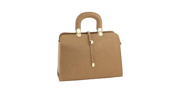 Dámska svetlo hnedá kožená kabelka Ore 10