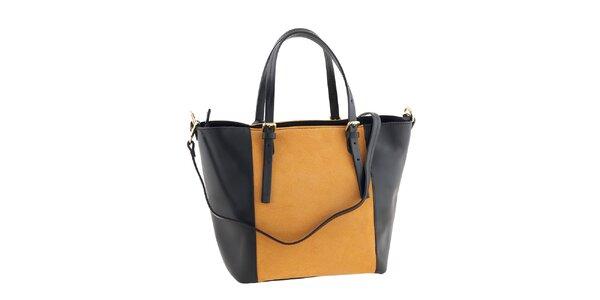 Dámska kožená čierno-oranžová kabelka Ore 10