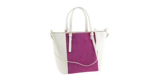 Dámska kožená bielo-ružová kabelka Ore 10