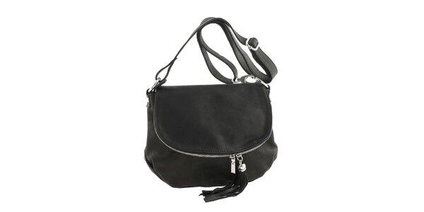 Dámska čierna kožená kabelka cez rameno so strapcom Ore 10
