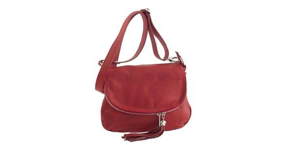Dámska červená kožená kabelka cez rameno so strapcom Ore 10