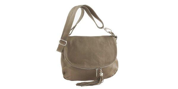 Dámska béžová kožená kabelka cez rameno so strapcom Ore 10