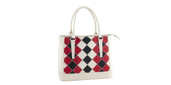 Dámska biela kožená kabelka s kockovaným vzorom Ore 10