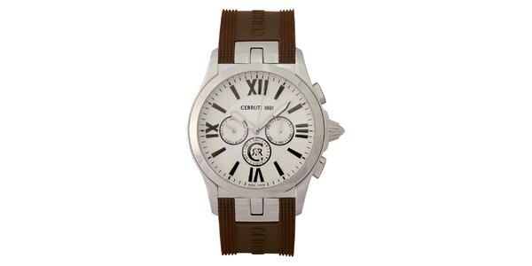Pánske analogové hodinky s hnedým náramkom Cerruti 1881