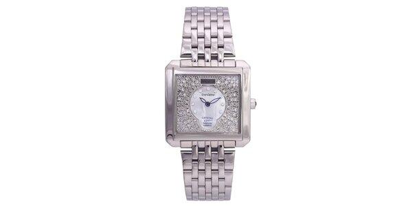 Dámske strieborné hodinky Lancaster s kryštálmi a modrými ručičkami 4c012378e69