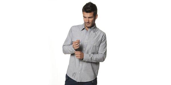 Pánska svetlo šedá melírovaná košeľa Unitryb