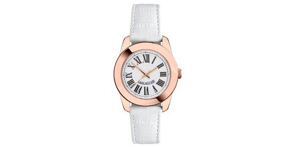 Dámske hodinky s púzdrom vo farbe ružového zlata, s bielym remienkom a rímskymi…