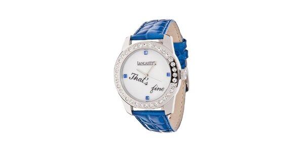 Dámske hodinky s tmavo modrým remienkom a kamienkami Lancaster