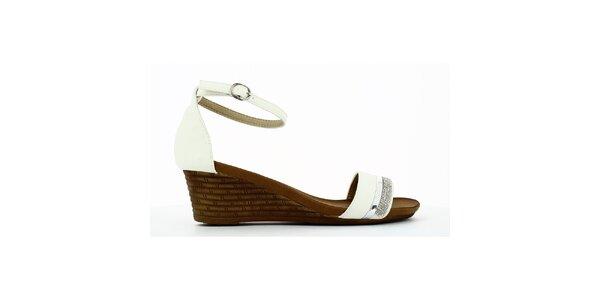 Dámske biele sandálky na kline s kamienkami Shoes and the City