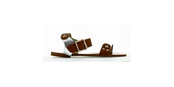 Dámske strieborno-hnedé sandálky s cvokmi Shoes and the City