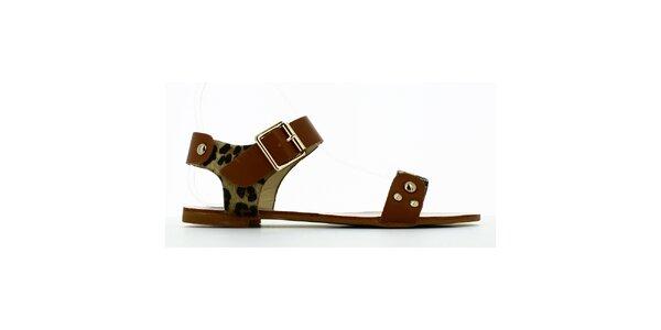Dámske leopardie sandálky s cvokmi Shoes and the City