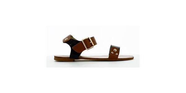 Dámske čierno-hnedé sandálky s cvokmi Shoes and the City
