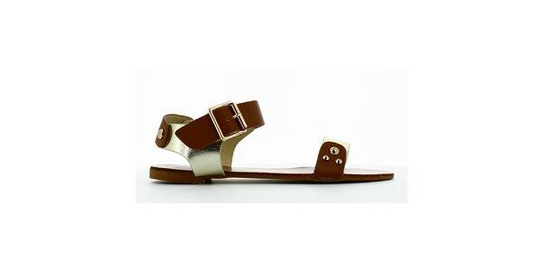 Dámske zlato-hnedé sandálky s cvokmi Shoes and the City